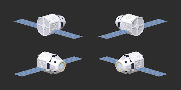 Modern herbruikbaar 3d lowpoly isometrisch ruimteschip