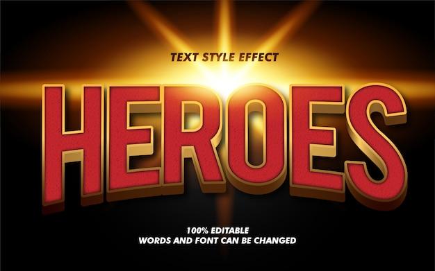 Modern heroes 3d vetgedrukte tekststijleffect