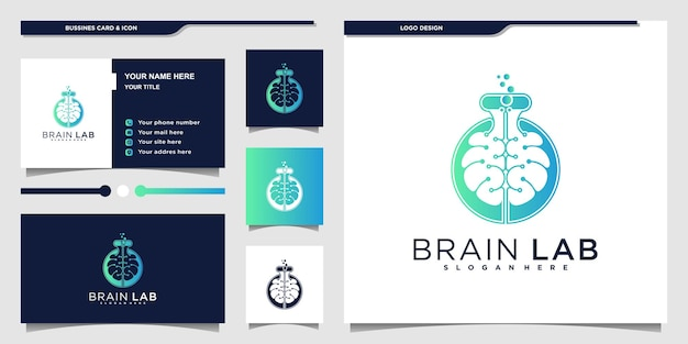 Modern hersenlab-logo-ontwerp met gecombineerd ontwerpconcept voor hersenen en laboratoriumfles premium vecto