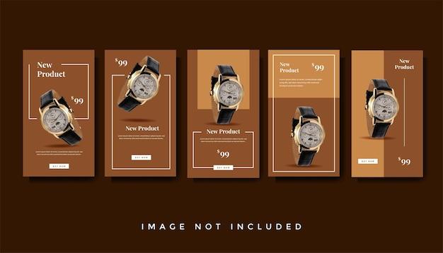Modern horloge instagram verhalen promotie sjabloonverzameling
