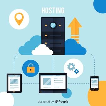 Modern hostingconcept met plat ontwerp