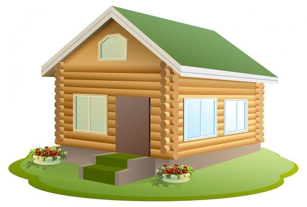 Modern houten huis. blokhut. nieuw huis met groen dak