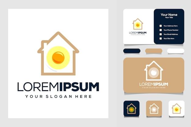 Modern huis en ei logo ontwerp visitekaartje