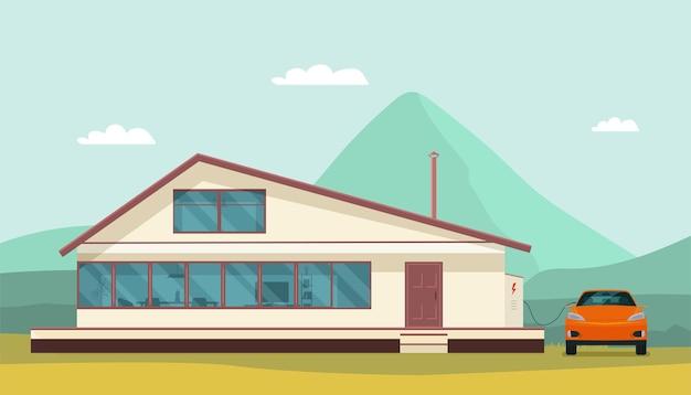 Modern huis en elektrische auto bij het opladen
