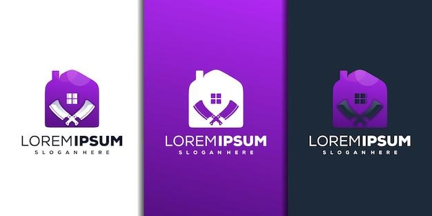 Modern huis en mes logo-ontwerp