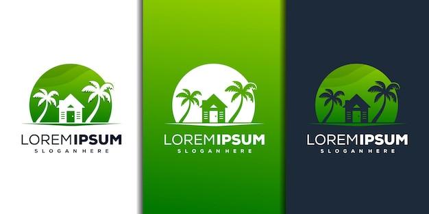 Modern huis en palmlogo-ontwerp