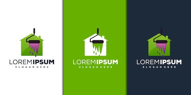 Modern huis en verf logo-ontwerp