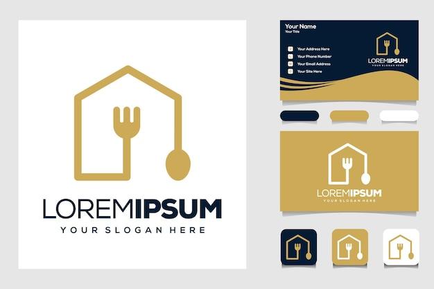 Modern huis eten logo sjabloon visitekaartje