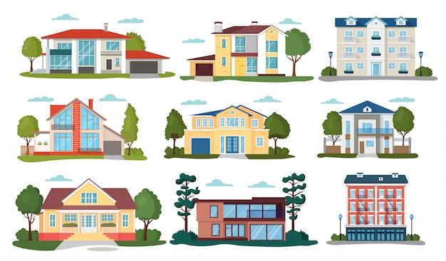 Modern huis illustraties, cartoon flat home appartement, gevel buitenkant van woningbouw set pictogrammen geïsoleerd op wit