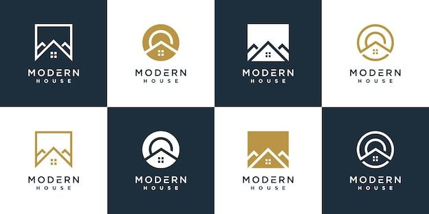 Modern huis logo collectie uniek vormconcept premium vector