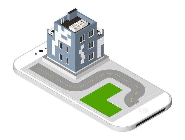 Modern huis met een weg die zich op het smartphonescherm bevindt. stedelijke woning gebouw met ramen en airconditioning. vector illustratie geïsoleerd