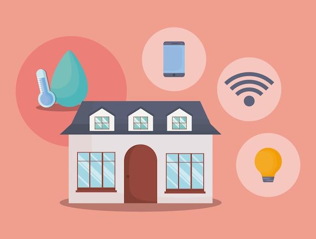 Modern huis met slimme naar huis verwante pictogrammen