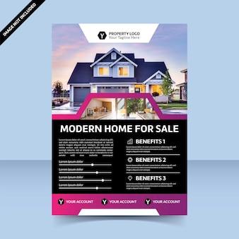 Modern huis te koop flyer sjabloonontwerp beste sjabloon