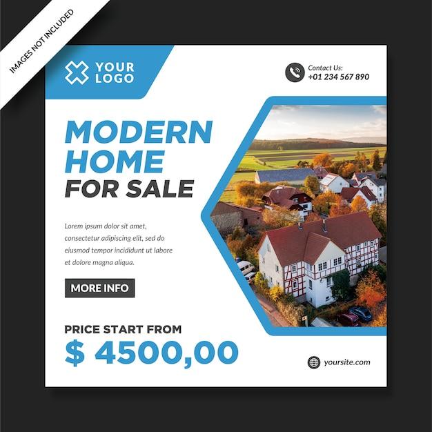 Modern huis te koop instagram promotieontwerp