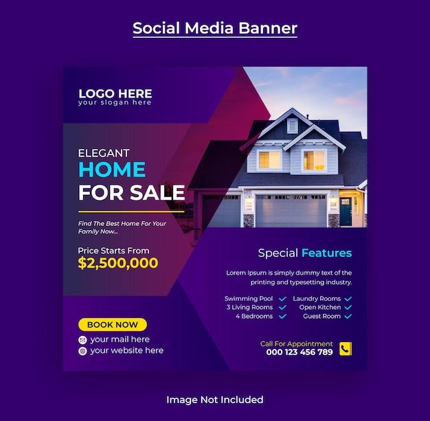 Modern huis te koop onroerend goed instagram post social media banner en webbanner premium vector