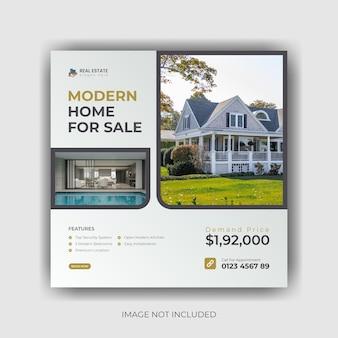 Modern huis te koop onroerend goed sociale media banner en instagram postontwerp premium vector