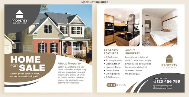 Modern huis te koop promotie feed instagram in platte ontwerpstijl