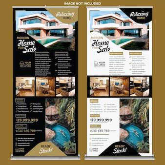 Modern huis te koop roll-up banner afdruksjabloon in moderne ontwerpstijl