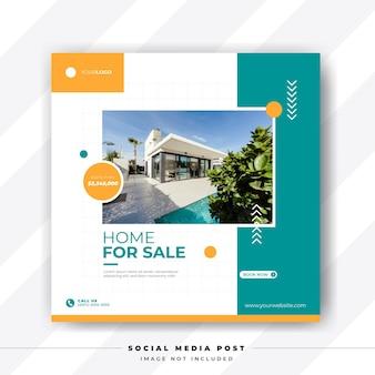 Modern huis te koop social media postsjabloon