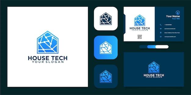 Modern huis tech logo ontwerp en visitekaartje