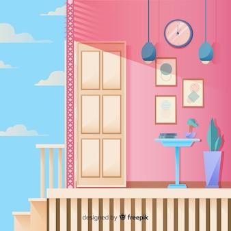 Modern huisbinnenland met vlak ontwerp