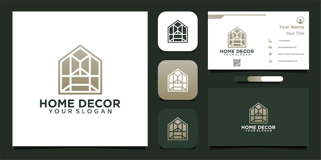 Modern huisdecoratie logo-ontwerp met venster en visitekaartje