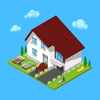 Modern huisje huis met groene tuin en tuiniers. isometrisch gebouw.