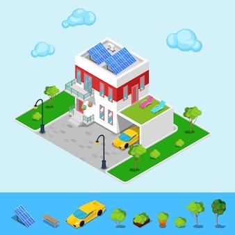 Modern huisje huis met zon batterijen, garage en groen dak.