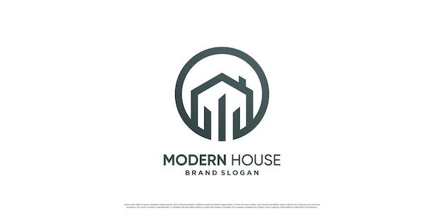 Modern huislogo met eenvoudig en minimalistisch concept premium vector