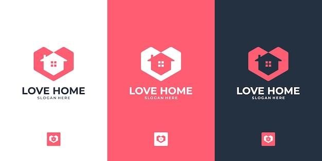 Modern huislogo-ontwerp met plat en minimalistisch concept voor onroerend goed