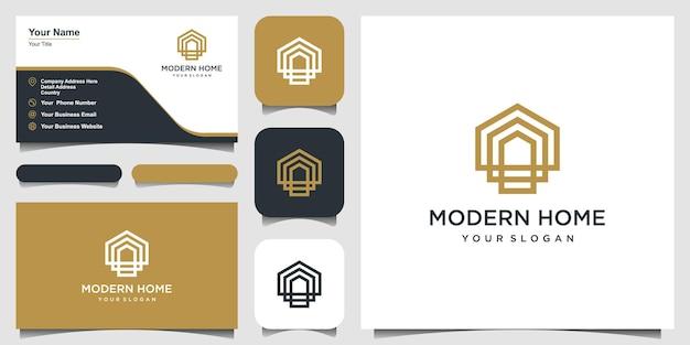 Modern huislogo-ontwerp voor bouwhuis onroerend goed gebouwbezit