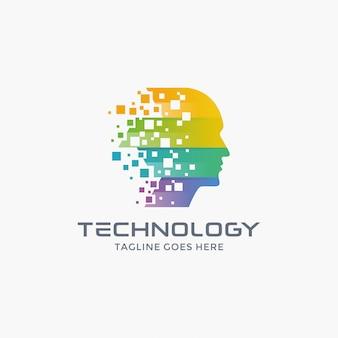 Modern human tech logo ontwerpsjabloon