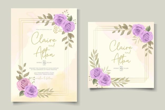 Modern huwelijkskaartontwerp met paarse rozen