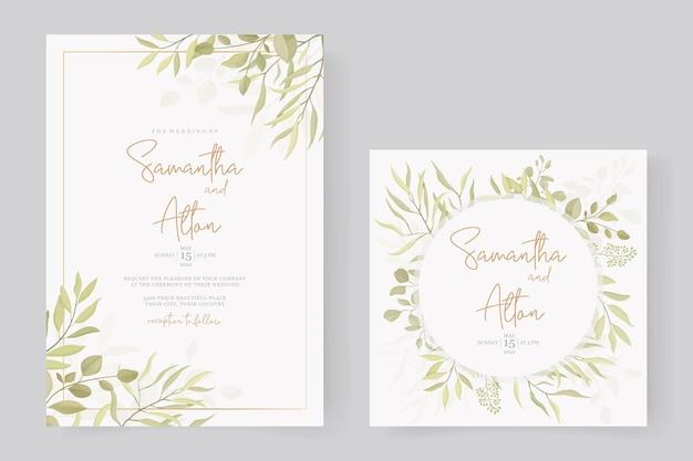 Modern huwelijksuitnodiging sjabloonontwerp met bladornament