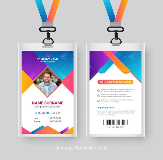 Modern identiteitskaartmalplaatje met gradiënt abstract ontwerp