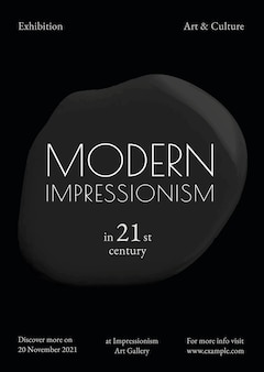 Modern impressionisme sjabloon vector zwarte verf abstracte advertentie poster