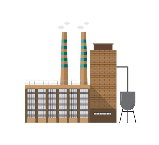 Modern industrieel fabrieksgebouw met pijp die damp afgeeft