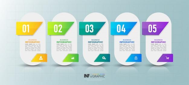 Modern infographic element 5 stappen.