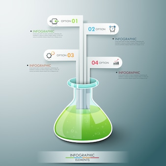 Modern infographic malplaatje met chemiefles