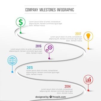 Modern infographic met bedrijfsmijlpalen