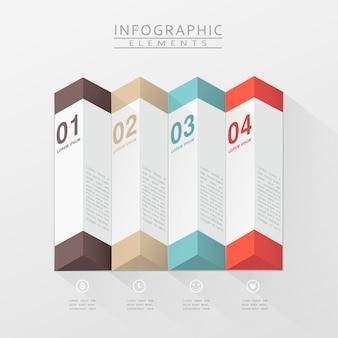 Modern infographic ontwerp met 3d geometrische elementen