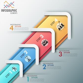Modern infographic processjabloon met pijlen