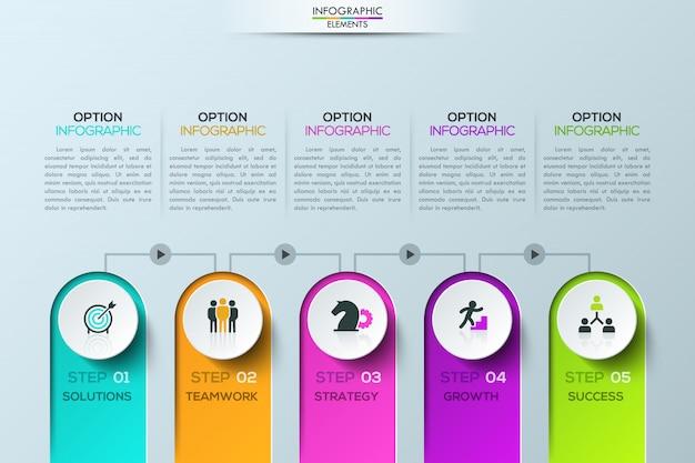 Modern infographic sjabloon, 5 elementen verbonden door lijnen met afspeelknoppen