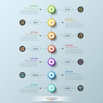 Modern infographic sjabloon, 7 cirkelvormige elementen verbonden met tekstvakken door stippellijnen