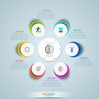 Modern infographic sjabloon, cirkelvormig bloembladdiagram