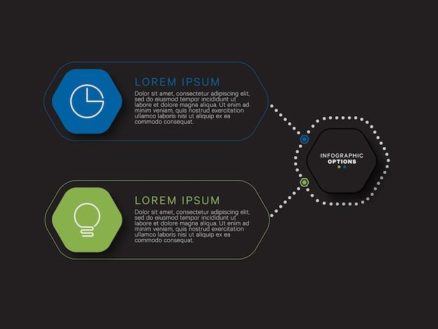 Modern infographic sjabloon concept met zeshoekige relistische elementen