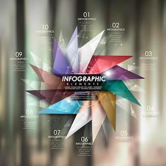 Modern infographic sjabloonontwerp met glanzende windmolenelementen