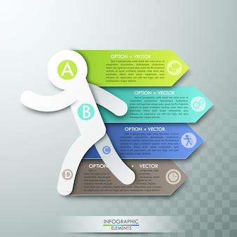 Modern infographics optiesjabloon voor 4 opties