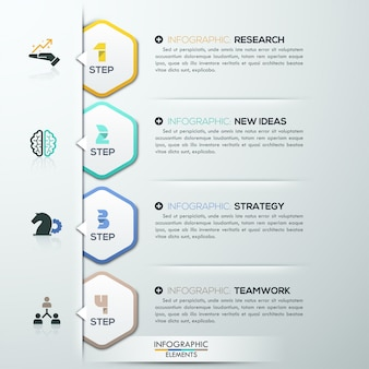 Modern infographicsoptiesmalplaatje met 4 document veelhoeken