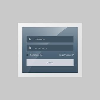 Modern inloggen vorm ontwerp in grijs en blauw thema